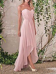 cheap -Sheath / Column Sweetheart Neckline Asymmetrical Chiffon / Lace Bridesmaid Dress with Ruching
