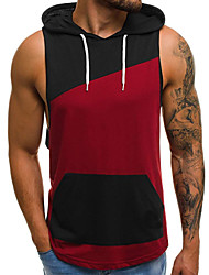cheap -Men's Color Block Tank Top - Cotton Basic Daily Sports Hooded Wine / White / Sleeveless