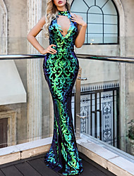 cheap -Mermaid / Trumpet High Neck Floor Length Polyester Sparkle / Green Wedding Guest / Formal Evening Dress with Sequin 2020