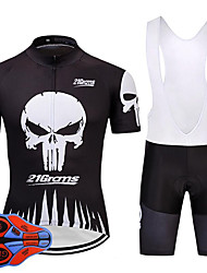 cheap -21Grams Sugar Skull Skull Men's Short Sleeve Cycling Jersey with Bib Shorts - Black+White Bike Clothing Suit Quick Dry Moisture Wicking Breathable Sports Summer Terylene Polyester Taffeta Mountain
