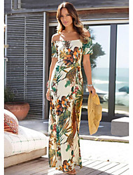 cheap -Women's Beige Dress Sheath Print S M