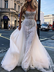 cheap -A-Line Wedding Dresses Scoop Neck Court Train Detachable Tulle Sleeveless Country Plus Size with Draping Appliques 2020