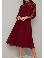 cheap -A-Line Mother of the Bride Dress Elegant High Neck Tea Length Chiffon Lace Long Sleeve with Lace Pleats 2020