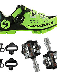 cheap -SIDEBIKE Adults' Cycling Shoes With Pedals & Cleats Mountain Bike Shoes Nylon Cushioning Cycling Green / Black Men's Cycling Shoes / Hook and Loop