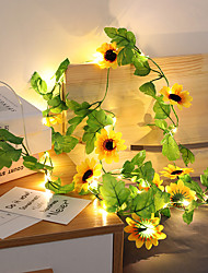 cheap -2.5M 30Leds Sunflower Fairy Led String Holiday Light Artificial Plants Vine Garland Copper LED Flexible String Light For Wedding Party  Hanging Decoration Lights