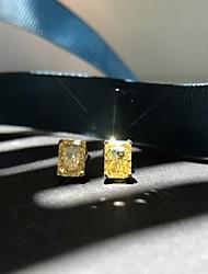 Недорогие -2 карата Синтетический алмаз Серьги Сплав Назначение Жен. Квадратное сокращение Дамы Стиль Простой Роскошь Свадьба Вечерние Официальные Высокое качество Классический 1 пара
