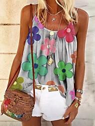 cheap -Women's Floral Print Blouse Daily Strap White / Black / Blue / Blushing Pink / Gray