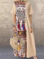 Недорогие -Жен. Макси А-силуэт Платье - Короткие рукава Контрастных цветов Черный Хаки L XL XXL XXXL XXXXL