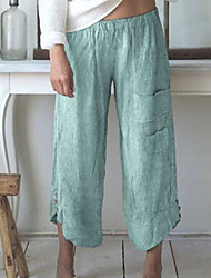 cheap -Women's Basic Loose Chinos Pants - Solid Colored Blue Red Green S / M / L
