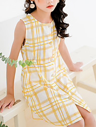 cheap -Kids Little Girls' Dress Plaid Yellow Above Knee Sleeveless Basic Cute Dresses Children's Day Regular Fit