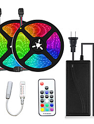 cheap -2x5M Flexible LED Light Strips Light Sets RGB Tiktok Lights 300 LEDs SMD5050 10mm 1 12V 6A Adapter 17-Key Remote Controller 1 set Multi Color Waterproof Cuttable Party 12 V
