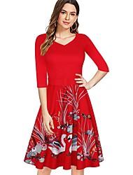cheap -Women's Red Black Dress A Line Floral S M