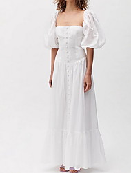 cheap -A-Line Elegant Vintage Holiday Prom Dress Scoop Neck Half Sleeve Floor Length Cotton with Pleats 2020 / Puff / Balloon Sleeve