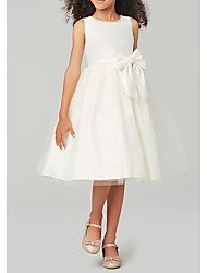 cheap -A-Line Knee Length Wedding / Party Flower Girl Dresses - Satin / Taffeta / Tulle Sleeveless Jewel Neck with Bow(s) / Solid