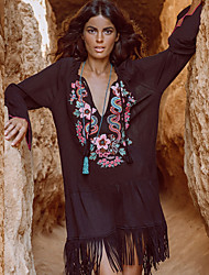 cheap -Women's Loose Dress - Long Sleeve Floral Sequins Tassel Fringe Loose Black One-Size