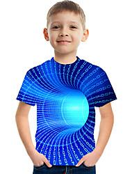 cheap -Kids Boys' T shirt Tee Short Sleeve 3D Print Graphic Optical Illusion Causal Crewneck Children Summer Tops Basic Streetwear Light Yellow Black Blue 3-12 Years