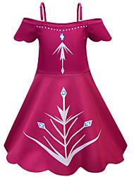 Недорогие -Дети Девочки Активный Шинуазери (китайский стиль) Однотонный Halloween Без рукавов До колена Платье Винный