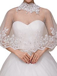 cheap -Half Sleeve Capes Tulle Wedding Shawl & Wrap With Lace