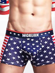 Недорогие -мужское нижнее белье из хлопка с принтом - нормальное, национальный флаг 1 шт. с низкой талией синее s m l