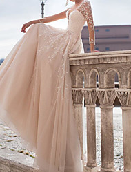 cheap -A-Line Wedding Dresses Jewel Neck Court Train Tulle Polyester Long Sleeve Country Plus Size with Embroidery Appliques 2021