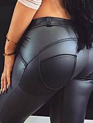 cheap -Women's Plus Size Sports PU Slim Pants - Solid Colored Pure Color Winter Black S / M / L