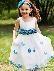 cheap -A-Line Tea Length Event / Party / Birthday Flower Girl Dresses - POLY Sleeveless Jewel Neck with Flower