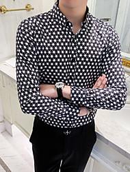 cheap -Men's Polka Dot Color Block Shirt Basic Elegant Daily Going out Black / Long Sleeve / Skinny