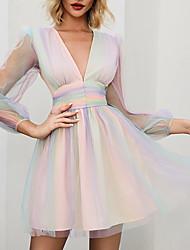 cheap -Deep V Iridescent High Waist Layered Translucent Outer Dress Mini Ruffle Skater Dress MM0327