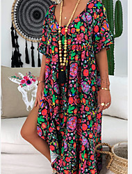 cheap -Women's Plus Size Maxi long Dress Swing Dress - Short Sleeves Geometric Print U Neck Loose Black Purple S M L XL XXL XXXL XXXXL XXXXXL