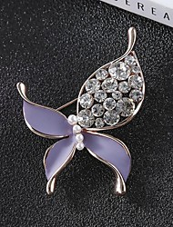 cheap -Women's Cubic Zirconia Brooches Classic Butterfly Stylish Simple Classic Brooch Jewelry Black Purple For Party Gift Daily Work Festival