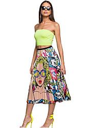 cheap -Women's Swing Skirts - Floral Yellow Fuchsia Orange S M L