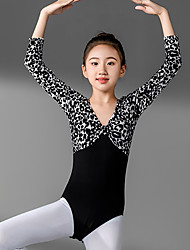 Недорогие -Выкройка балетной талии для девочек training / печать / тренировка в разрезе / рабочая сила с длинными рукавами, полиэстер / хлопок высокий