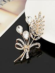 Недорогие -броши из циркония женские выдолбленные лепестки стильные простые классические брошь ювелирные изделия золото серебро для вечеринки подарок повседневная работа фестиваль