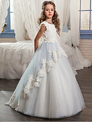 cheap -Ball Gown Floor Length Wedding / Event / Party Flower Girl Dresses - POLY Sleeveless Jewel Neck with Lace / Appliques