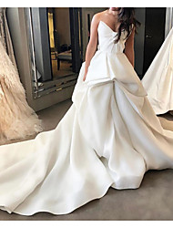 cheap -Ball Gown Wedding Dresses Strapless Court Train Polyester Sleeveless Country Plus Size with Draping 2020