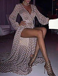 cheap -Women's Maxi Chiffon Dress - Long Sleeve Polka Dot V Neck Gray S M L XL