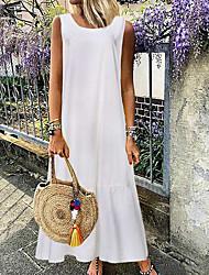 Недорогие -Жен. Макси А-силуэт Платье - Без рукавов Сплошной цвет Белый Черный S M L XL XXL XXXL / Хлопок