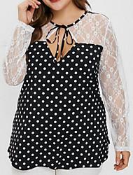 cheap -Women's Plus Size Polka Dot Blouse Daily Black
