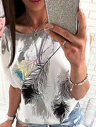 cheap -Women's Floral Loose T-shirt Daily One Shoulder Blue / Blushing Pink / Gray