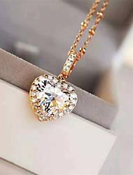 Недорогие -3 карата Синтетический алмаз Цепочка Серебристый Назначение Жен. В форме сердца Дамы Стиль Роскошь Элегантный стиль Свадьба Вечерние Официальные Высокое качество Классический