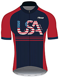 Недорогие -21Grams Муж. С короткими рукавами Велокофты Черный / красный В полоску Американский / США Флаги Велоспорт Джерси Верхняя часть Горные велосипеды Шоссейные велосипеды / Эластичная / Быстровысыхающий