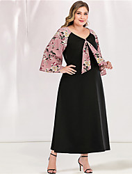 cheap -Women's Plus Size Maxi A Line Dress - Long Sleeve Floral Solid Color Tassel Fringe Patchwork Spring & Summer V Neck Casual Cute Daily Flare Cuff Sleeve Loose Blushing Pink L XL XXL XXXL XXXXL