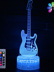 cheap -3D Night Lamp Optical Illusion Desk Light Table Lamp Smart Home Night Lights 16 Colors Change (Guitar)