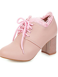 cheap -Women's Oxfords 2020 Chunky Heel Round Toe PU Preppy / Minimalism Spring &  Fall Pink / White / Beige / Wedding / Party & Evening
