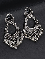 cheap -Women's Black Crystal Earrings Tassel Fringe Lucky Vintage Ethnic Earrings Jewelry Gold / Silver For Party Club Bar 1 Pair