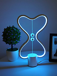 cheap -Balance LED Table Lamp Smart Lampara Magnetic Mid-air Switch USB Creative Bedroom Bedside Night Light Double Heart Colorful Gift