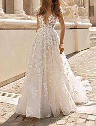 Недорогие -Винтаж Boho сексуальные кружевные аппликации свадебные платья 2020 глубокий v-образным вырезом без спинки прозрачные рукава богемное свадебное платье с 3d цветочным