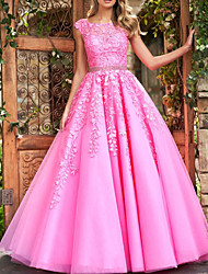 cheap -Ball Gown Floral Pink Quinceanera Prom Dress Illusion Neck Sleeveless Court Train Polyester with Crystals Appliques 2020