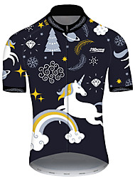 cheap -21Grams Men's Short Sleeve Cycling Jersey Black / White Unicorn Animal Bike Jersey Top Mountain Bike MTB Road Bike Cycling UV Resistant Breathable Quick Dry Sports Clothing Apparel / Stretchy