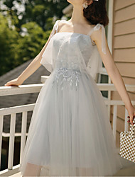 cheap -A-Line One Shoulder / Strapless Short / Mini Tulle Bridesmaid Dress with Pleats / Illusion Sleeve / Open Back